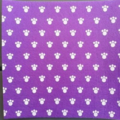 Carré de feutrine motif patte 15*15cm violet