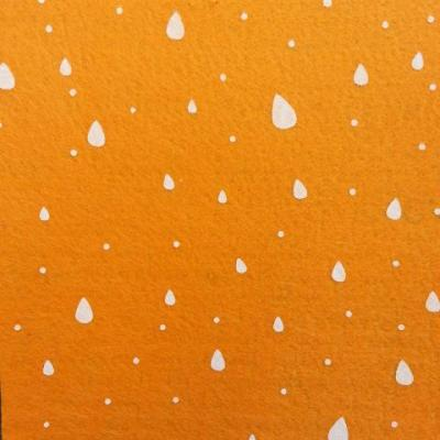 Carré de feutrine motif goutte 15*15cm orange