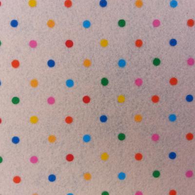 Carré de feutrine motif pois multicolore 15*15cm peche