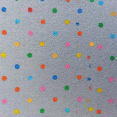 Carré de feutrine motif pois multicolore 15*15cm gris