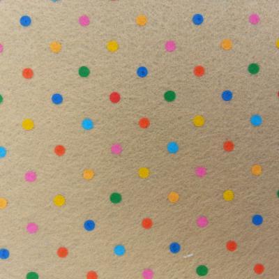 Carré de feutrine motif pois multicolore 15*15cm beige