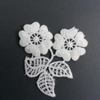 applique fleurs et feuilles en dentelle blanche 55*60mm