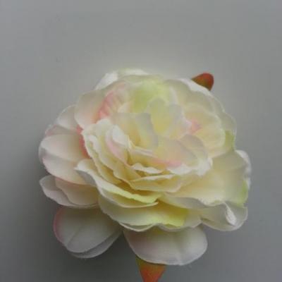 fleur artificielle en tissu de 60mm ivoire et rose