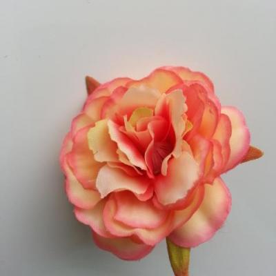 fleur artificielle en tissu de 60mm peche et saumon