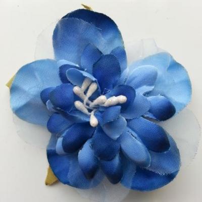 fleur artificielle en tissu et pistils de 60mm bleu