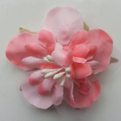 fleur artificielle en tissu et pistils de 60mm rose saumon