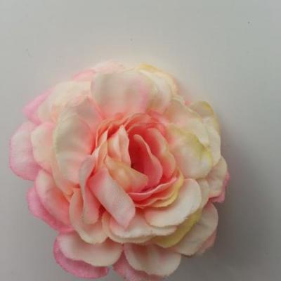 fleur artificielle en tissu ivoire et rose 55mm