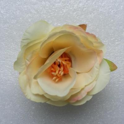 jolie fleur artificielle en tissu de 50mm ivoire foncé