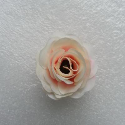 Fleur  en tissu  30mm ivoire et rose