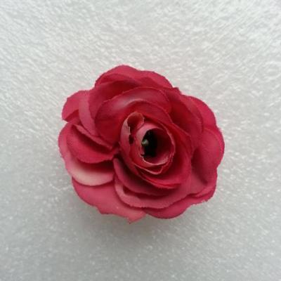Fleur  en tissu  30mm rose fuchsia et ivoire