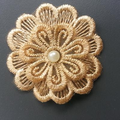 double fleur en dentelle de 50mm beige doré
