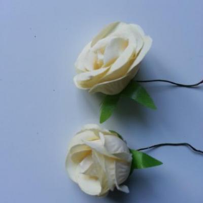 lot de 2 fleurs artificielles en tissu ivoire foncé 30mm