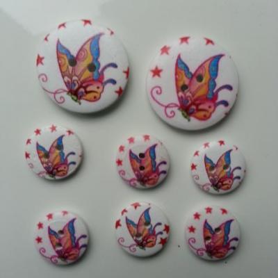 lot de 8 boutons ronds en bois motif papillon (1)   2*30mm et  6*18mm