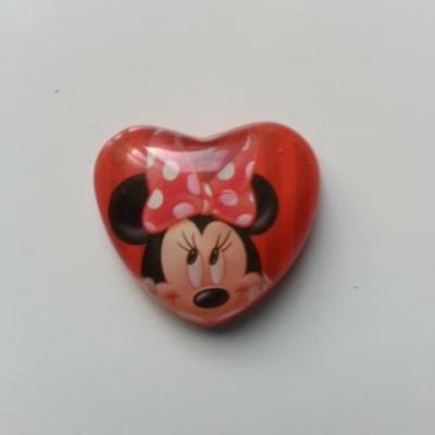 souris minnie  couchée 24mm cabochon coeur en résine rouge