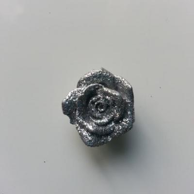 fleur   argent  pailletée 20mm