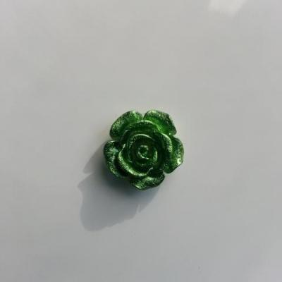 Fleur  en résine  pailletée 15mm vert