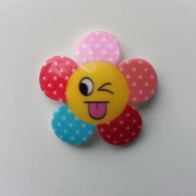 fleur en résine smiley multicolore 32mm (1)