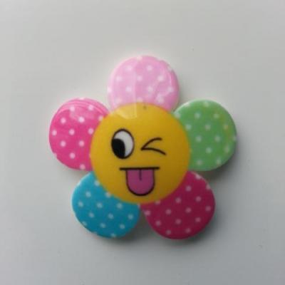 fleur en résine smiley multicolore 32mm (2)