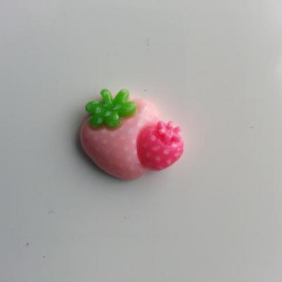 cabochon plat double fraise rose 20*20mm