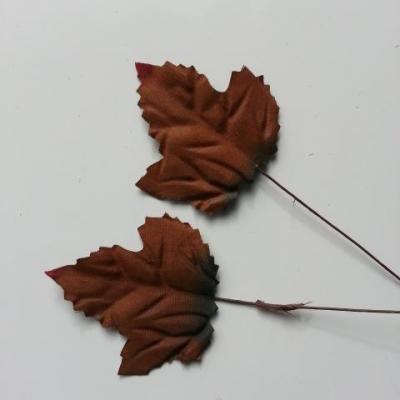 Lot de 3 feuilles artificielles marron  sur tige  50mm
