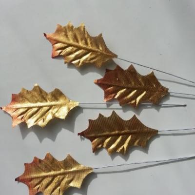 5 Feuilles de houx artificielles  doré, or sur tige 50*30mm