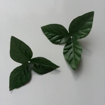 Lot de 2  feuilles artificielles en tissu  vertes  75mm
