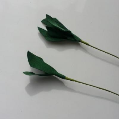 Lot de 2 tiges de feuilles vertes tige de 8cm feuilles 5cm