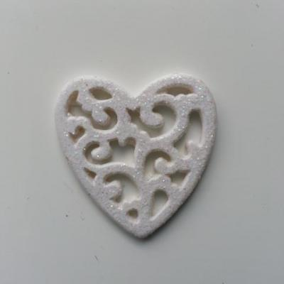 coeur en resine pailletée blanc 35mm