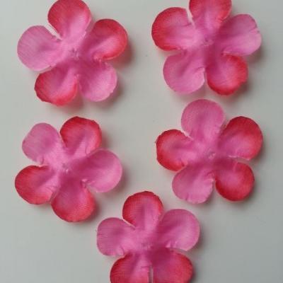 lot de 5 fleurs en tissu 50mm rose fuchsia