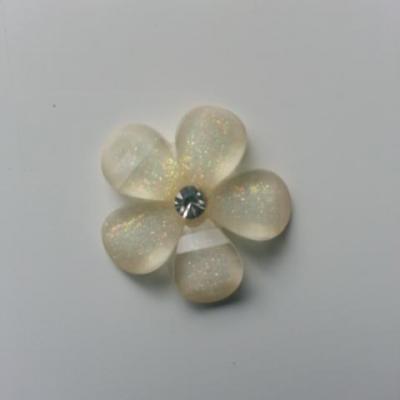 fleur en résine ronde avec strass au centre 20 mm blanc
