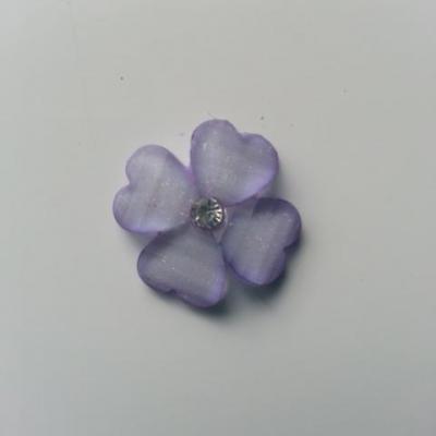 fleur en résine avec strass au centre 20 mm mauve