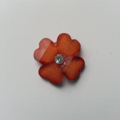 fleur en résine avec strass au centre 20 mm marron