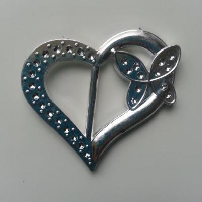 coeur en plastique argent passe ruban 32*50mm