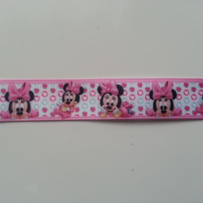 1 mètre de ruban gros grain coeur rose motif minnie baby 25mm (1)