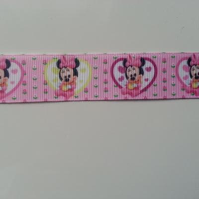 1 mètre de ruban gros grain coeur rose motif minnie baby 25mm