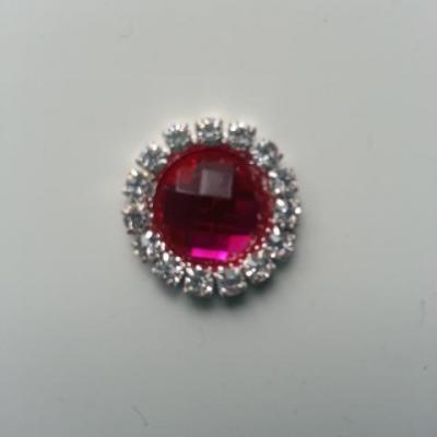 Embellissement strass  15mm rose fuchsia