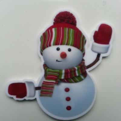 Cabochon bonhomme de neige  plat en résine