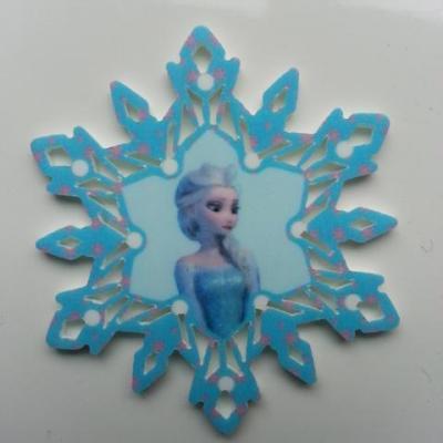 Cabochon étoile  en résine elsa  reine des neiges  50mm bleu