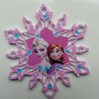 Cabochon étoile  en résine elsa et anna reine des neiges  50mm rose