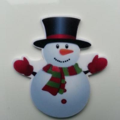 Cabochon bonhomme de neige  plat en résine 40*45mm