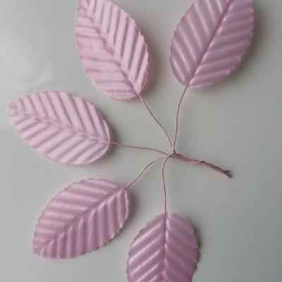 Lot de 5 Feuilles artificielles sur tige  30 x 50mm rose pale