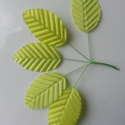 Lot de 5 Feuilles artificielles sur tige  30 x 50mm vert clair