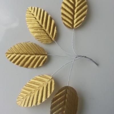 Lot de 5 Feuilles artificielles sur tige  30 x 50mm doré, or