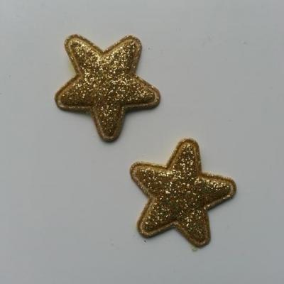 Lot de 2 appliques étoiles matelassées 25*25 mm doré, or  pailletées