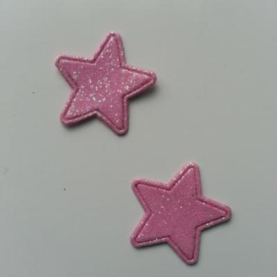 Lot de 2 étoiles paillettes rose bonbon en tissu 20mm