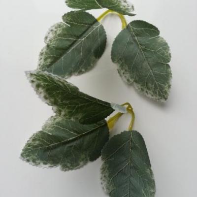 Lot de 2 triple feuilles artificielle vert et blanc 70mm
