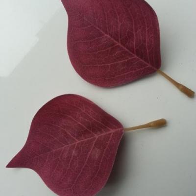 lot de 2 feuilles artificielles 70*55MM bordeaux