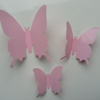 Grand papillon  3D en plastique 11 *9.5 cm rose