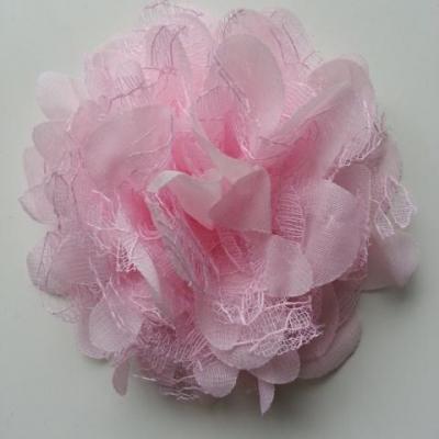 Grande fleur en mousseline  et dentelle 11cm rose