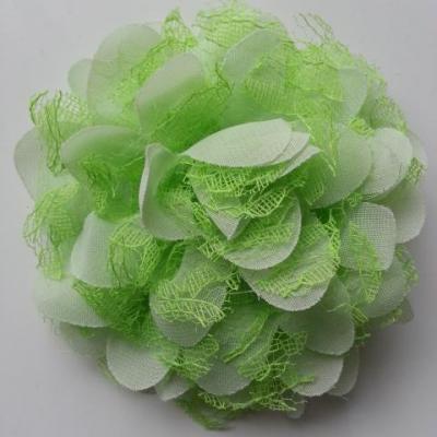 Grande fleur en mousseline  et dentelle 11cm vert